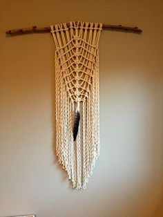 Macrame Wall Hanging Feather Driftwood Boho Hippie Decor White Cotton Tapestry