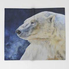 Aurora by Teresa Thompson Throw Blanket by teresathompson Black Bear, Brown Bear, Bear App, Bear Drawing, Cute Gifts, Polar Bear, Aurora, Throw Blankets, Artist