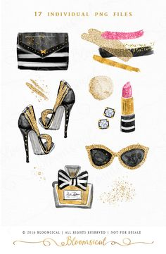 Paris Chic Beauty ClipArt Gold Glitter Schuhe von Bloomsical