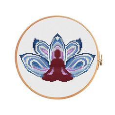 Yoga lotus for men - cross stitch pattern. Floss:DMC Canvas: Aida 14 White. Design Area: 85x54 stitches or 6,1 x 3,9 inch or 15,4 x 9,8 sm. Canvas: Aida 16 White. Design Area: 85x54 stitches or 5,3 x 3,4 inch or 13,5 x 8,6 sm. Canvas: Aida 18 White. Design Area: 85x54 stitches or