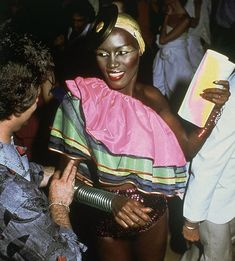 Singer Grace Jones was certainly one of the more extravagant dressers at Studio 54. Always donning a dramatic headpiece and always sparkling with glitter and sequins, her style gives us a true reflection of the anything-goes attitude that came with the nightlife.