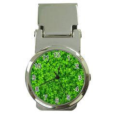 Shamrock+Clovers+Green+Irish+St++Patrick+Ireland+Good+Luck+Symbol+8000+Sv+Money+Clip+Watches