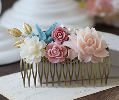 Large Floral Hair Comb. Gold Leaf Dusky Blue Ivory Pink Flowers Wedding Collage Hair Comb. Antique Bronze Filigree Comb. Wedding Bridal Comb