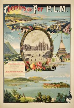 1900 P.L.M. poster for Italy, showing the cities of Genova, Milano, Turino and the Lago Maggiore (the lake Maggiore), Italy vintage travel poster