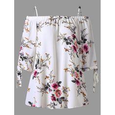 Plus Size Floral Cold Shoulder Blouse - 3XL WHITE