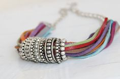Statement Jewelry Multistrand Necklace  Multicolored by Justlena,