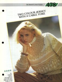 478 Creative Knitting Woman's Pattern 478 : Two Colour Fairisle DK Jersey with a Cable Yoke Pamphlet – 1986 Creative Knitting, Cable, Colour, Pattern, Women, Cabo, Color, Patterns, Model