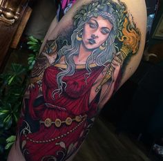 If you want to see some rad neo traditional tattoos, you must check the work of Sam Smith! Stomach Tattoos, Body Art Tattoos, Cool Tattoos, Tattoo Art, Samantha Smith, Sam Smith, Arm Tattos, Athena Tattoo, Oldschool Tattoos