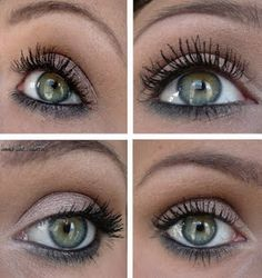 Nice gray eye make-up for green eyes. My eyes are greenish blue and gray doesn't usually look right on me, but I want to try this.