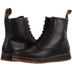 Dr. Martens Newton 8-Eye Boot (Black Temperley) Lace-up Boots ($125) ❤ liked on Polyvore featuring shoes, boots, ankle boots, slip resistant shoes, black lace up bootie, black boots, lace up boots and short boots