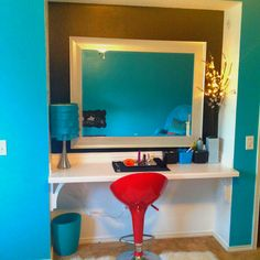 """Thanks Pinners for all the inspiring ideas for my daughters """"Teen Room""""! I finally finished the room with her dads help of building this awesome make up vanity bar!! She loved it!"""