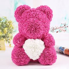 Rose Heart Teddy Bear For This Valentine's Day  #Valentine'sDay #Valentinegift #teddybear #heartshapeteddybear