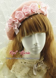 red maria lolita handmade ribbon roses elegant Swan Lake lace bow wool beret - Taobao