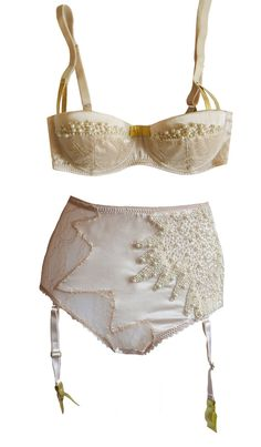 Lily pearl Champagne Silk Padded Balcony Bra with Pearls and High waist suspender Panties, La Lilouche