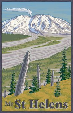 Vintage Mount St. Helens Travel Poster Art Print