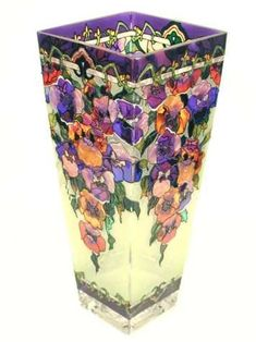 Amia Tall Hand-Painted Glass Vase Featuring Pansy Flowers for sale online Ceramic Decor, Ceramic Vase, Painted Glass Vases, Home Decor Vases, Bottle Vase, Glass Bottle, Hand Blown Glass, Pansies, Colored Glass