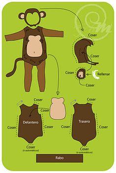 Tes Pes to Miayo: Tutorial Express: Monkey Suit Más Diy Monkey Costume, Monkey Costumes, Diy Costumes, Halloween Costumes, Theme Halloween, Halloween Crafts, Tutorial Fantasia, Bag Tutorials, Sewing Tutorials
