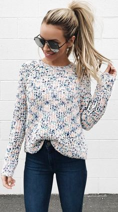 #spring #outfits pastel sweater, jeans