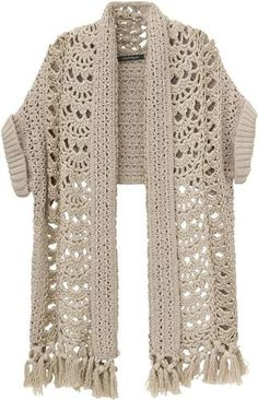 This is crochet, but I'd like to write a knitting pattern for this. Gilet Crochet, Crochet Jacket, Crochet Cardigan, Crochet Scarves, Crochet Clothes, Crochet Stitches, Knit Crochet, Crochet Hats, Crochet Shrugs