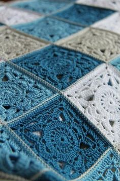 Plaid Sea breeze (large) - order at the Fair Masters . : Plaid Sea breeze (large) – order at the Fair of Masters – Granny Square Crochet Pattern, Crochet Blocks, Crochet Squares, Crochet Granny, Crochet Motif, Crochet Stitches, Flower Crochet, Crochet Bedspread, Baby Afghan Crochet