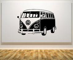 Volkswagen Vw Camper Van Wohnmobil Rv Fahrzeug Kinder Kinderzimmer / Kinderzimmer Wand Kunst Aufkleber Bild Aufkleber