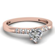 Modish Bar Ring || Heart Shaped Diamond Petite Ring With White Diamonds In 14k Rose Gold