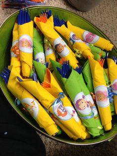 Bubble guppies utensils for Montana's first birthday party
