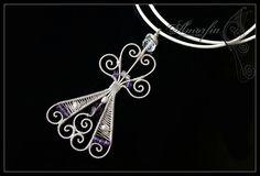 Sterling silver purple angel pendant by amorfia on Etsy