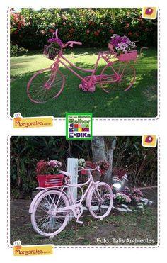 Reaproveitando a bike no jardim como decoração