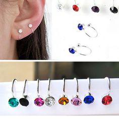 16 colors clip on earrings for women 4mm Rhine stone  Ear Cuff jewelry fake piercing ear clips oringe girl gift