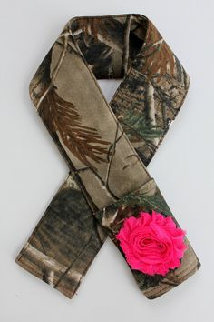 Camo Camera Strap Cover - With Hot Pink Or Orange Flower - Padded - Lens Cap Pocket - DSLR - SLR