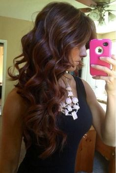 Red Brown Ombre with Highlights
