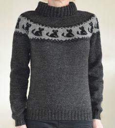 Damegenser m/ katter   Stoff & strikk Jumper Patterns, Knitting Patterns, Cat Sweaters, Pullover Sweaters, Cat Pattern, Yarn Crafts, Crochet Projects, Knit Crochet, Clothes For Women