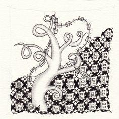 Ein Zentangle aus den Mustern Jack's Stack, Afreeka, Boxtel,  gezeichnet von Ela Rieger, CZT