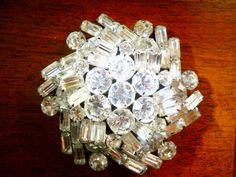 Vintage Brooch Clear Rhinestone Large and by LakeBreezes on Etsy