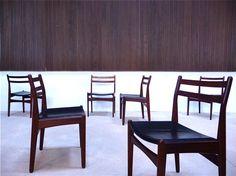 FREM RØJLE - Set of 6 Teak Dining Chairs / Leather Seats - Denmark 1960s