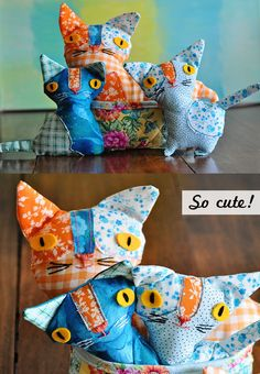 Cute pocket kittens by Sharon Rohloff of the teacup incident #softies #sewing