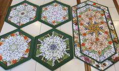 Quilts For Sale, Floral Theme, Placemat Sets, Custom Quilts, Hexagon Shape, Custom Wall, Table Runners, Shapes, Collaboration