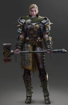 Blond hair, female, woman, heavy build, strong, warhammer, warrior, fighter, armor.