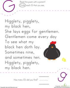 Kindergarten Poetry Letter G Worksheets: Find the Letter G: Higglety, Pigglety Preschool Poems, Rhyming Activities, Preschool Printables, Preschool Lessons, Educational Activities, Nursery Rhymes Kindergarten, Free Kindergarten Worksheets, Kindergarten Reading, Letter Worksheets