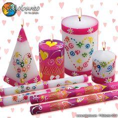 ** Sada, růžových svíček **