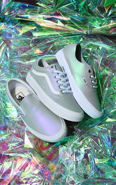 Vans elevated their cult-favorite Old Skools with an iridescent makeover, just in time for the change in weather. Featured in Vans custom Muted Metallic Violet Grey color scheme which translates to a pale lavender upper adorned with the classic Vans sides Shoes Sneakers, Skate Shoes, Vans Shoes, Tennis Vans, Cute Vans, Vans Outfit, Baskets, Slippers, Fashion Shoes