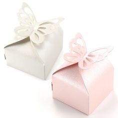 50pcs Candy Gift Boxes With Ribbon Wedding Party Favor Ivory Pink #Unbranded
