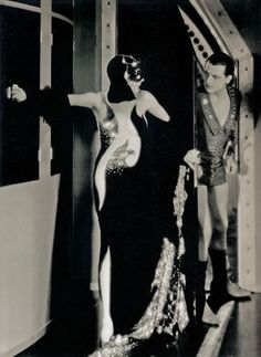 "Gilbert Adrian's (1903- 1959) costumes for Cecil B. Demille's ""Madam Satan"" (1930). Here are Kay Johnson & Reginald Denny, along with the original design of the costumes."