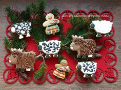Highland Christmas Cookies from Outlander Kitchen. Kilted men, sheep and coos. Cute Christmas Cookies, Christmas Baking, Christmas Ornaments, Christmas Ideas, Tartan Christmas, Christmas Biscuits, Christmas Foods, Holiday Cookies, Winter Christmas