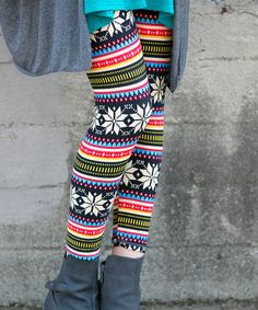 Another great find on #zulily! Navy & Coral Geometric Leggings #zulilyfinds