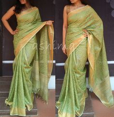 Code:1203164 -Silky Kota With All Over Embroidery, Tissue Border & Woven Jute Pallu- Price INR:6400/-