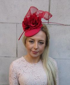 This fascinator is stunning. Available with hat elastic in black or white. Fascinator Hairstyles, Hat Hairstyles, Wedding Hats, Red Wedding, Wedding Ideas, Red Rose Flower, Red Roses, Facinators Wedding, Facinator Hats