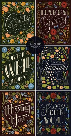 Hand Lettered & Illustrated Cards by Kelly Thorn - Paper Crave