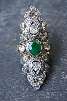 Antique Diamond & Emerald Cocktail Ring